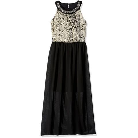 Amy Byer Girls Dresses Black Size 14 Embellished Shimmer Sleeveless