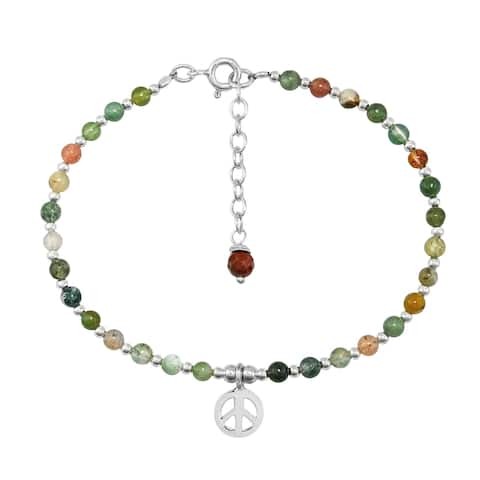 Handmade IIconic Peace Symbol Lucky Seven Color Jade Sterling Silver Beaded Bracelet (Thailand) - Multicolor