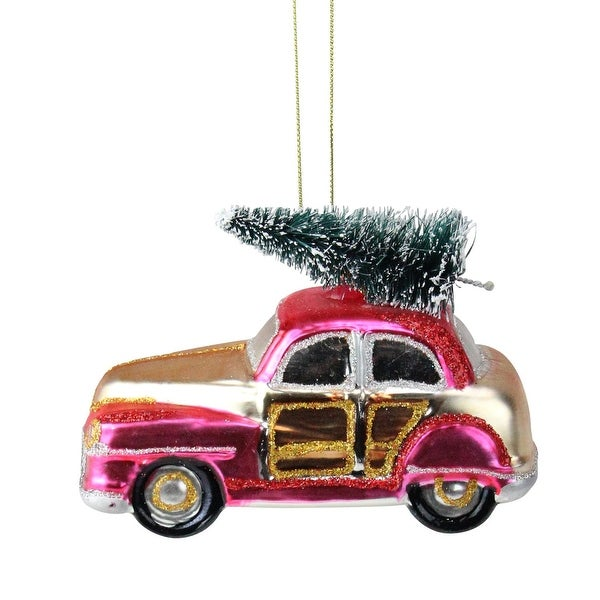"""4.75"""" Festive Glittered Car with Christmas Tree on Top Glass Christmas Ornament"""