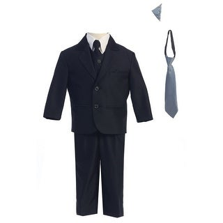 Little Boys Navy Two-button Herringbone Pattern Special Occasion Suit 2-7