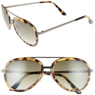 Tom Ford Andy Aviator Sunglasses (Havana Blond Frame / Green Lenses)