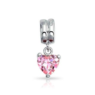 Bling Jewelry Topaz CZ October Birthstone Charm 925 Silver Love Pendant and Pink Heart Bead for Bracelet