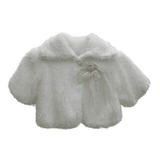 Baby Girls White Faux Floral Adornment Button Winter Coat 12M-24M