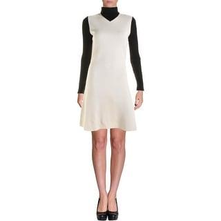 Theory Womens Wool Blend Contrast Trim Wear to Work Dress