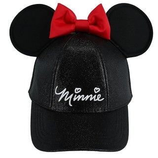 Jerry Leigh Disney Kids' Minnie Mouse Glitter Baseball Cap with Bow and 3D Ears