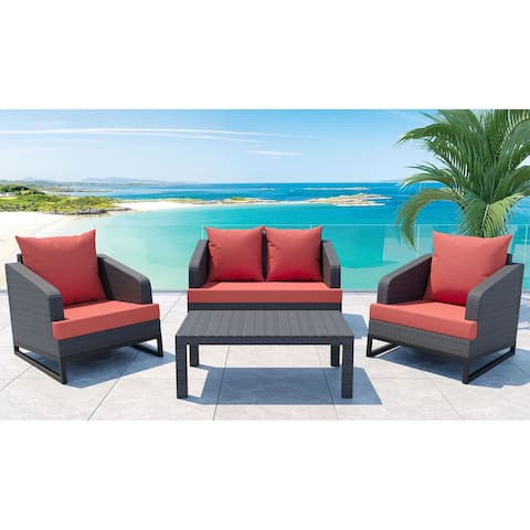 Comal 4-Piece Outdoor Patio Seating Set by Gardennaire - 2x Club Chairs, Loveseat & Coffee Table