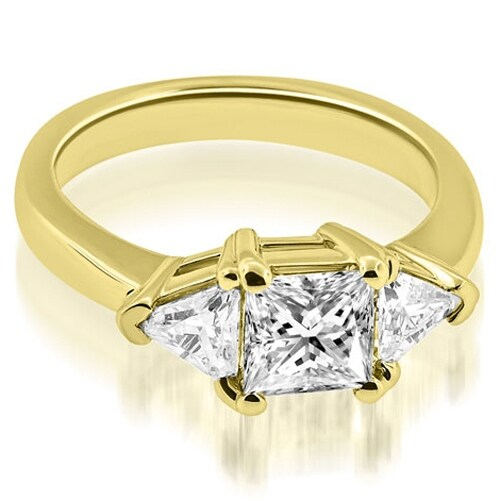 1.50 cttw. 14K Yellow Gold Princess Trillion Three-Stone Diamond Engagement Ring