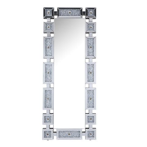Faux Diamond Inlay Beveled Accent Floor Mirror with LED Light, Silver