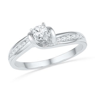 10k White Gold Womens Natural Round Diamond Bridal Wedding Engagement Anniversary Ring 1/3 Cttw