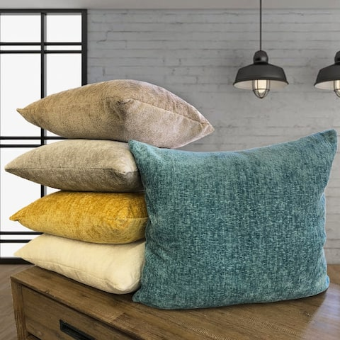 Rodeo Home Samson Decorative Solid Color Chenille Rectangular Throw Pillow