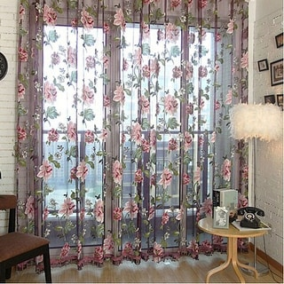 Home Floral Sheer Voile Curtain Panel Tulle Window Curtains 78.8inch x 39.4inch (L x W)