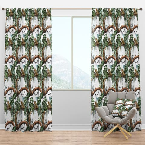Designart 'Leopard Resting on Brench Watercolor' Animals Blackout Curtain Panel