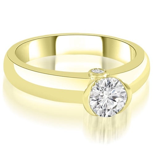 1.02 cttw. 14K Yellow Gold Bezel Set Round Cut Diamond Engagement Ring