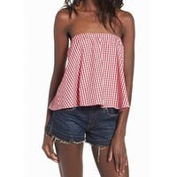 Wayf Red White Women's Size Small S Strapless Plaid Knit Top