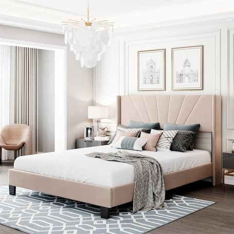 Merax Queen Size Velvet Upholstered Platform Bed