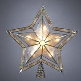 "10"" Lighted Smoky Capiz Shell Star Christmas Tree Topper - Clear Lights"
