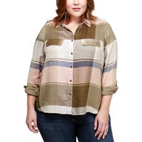 Lucky Brand Womens Plus Button-Down Top Plaid Long Sleeves - 1X