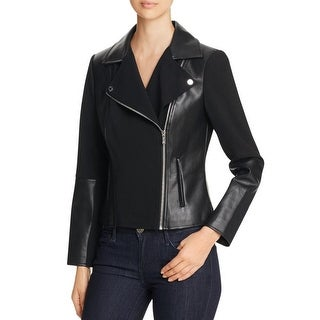 Calvin Klein Womens Motorcycle Jacket Faux Leather Mixed Media