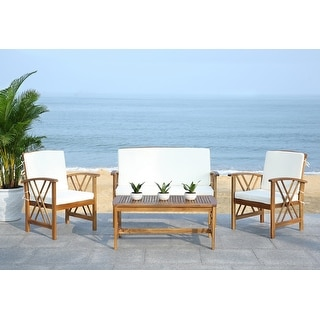 Safavieh Weather-Resistant Outdoor Living Cushioned Brown ... on Safavieh Outdoor Living Montez 4 Piece Set id=29132