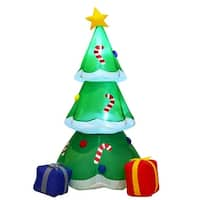 Costway 6' Inflatable Decoration Christmas Tree with Gift Boxes Blow Up Lighted Outdoor - as pic