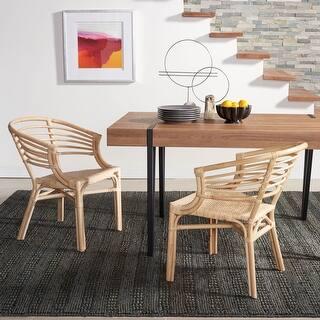 """SAFAVIEH Elmira Coastal Rattan Dining Room Chair (Set of 2) - 24.4"""" W x 21.7"""" L x 29.9"""" H"""