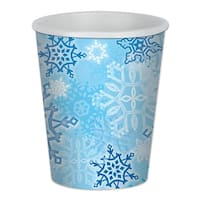 Club Pack of 96 Snow White, Sky and Cobalt Blue Snowflake Christmas Disposable Cups - 9 oz.