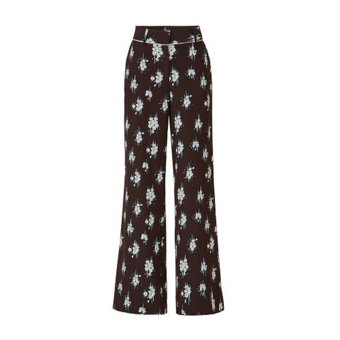 Derek Lam 10 Crosby Black Women's Size 4 Floral Print Silk Pants