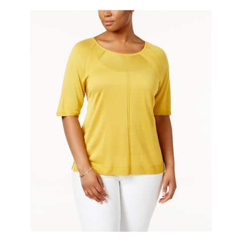 ANNE KLEIN Womens Yellow Short Sleeve Scoop Neck Top Size 0X