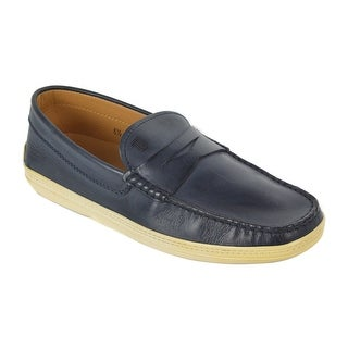 Tods Mens Navy Blue Leather Penny Bar Boat Shoes