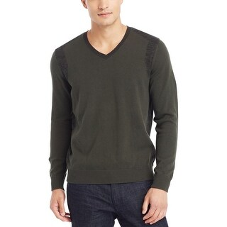 Kenneth Cole Reaction Cotton V-Neck Sweater Forest Green Pullover