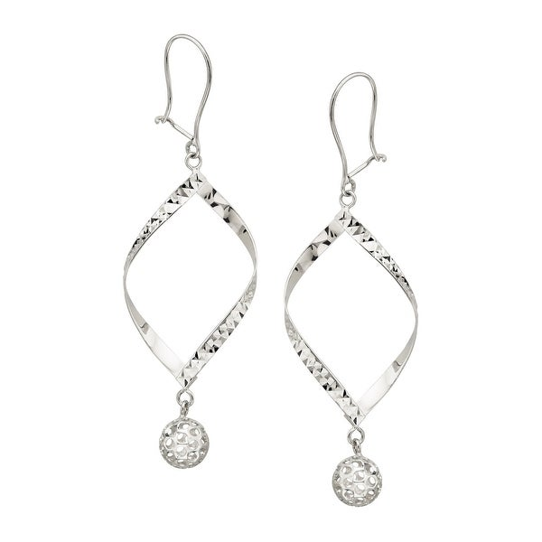 Eternity Gold Hammered Drop Earrings with Beads in 14K White Gold