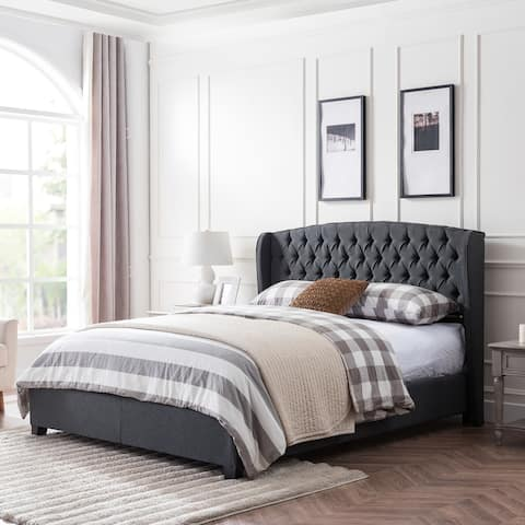 Virago Upholstered Low-Profile King-Size Platform Bed by Christopher Knight Home
