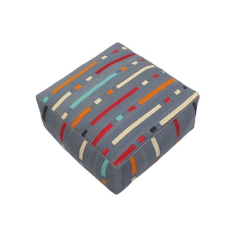 "Boho Chic Justa Hand-Woven Kilim Floor Cushion- 28"" x 28"" x 16"""