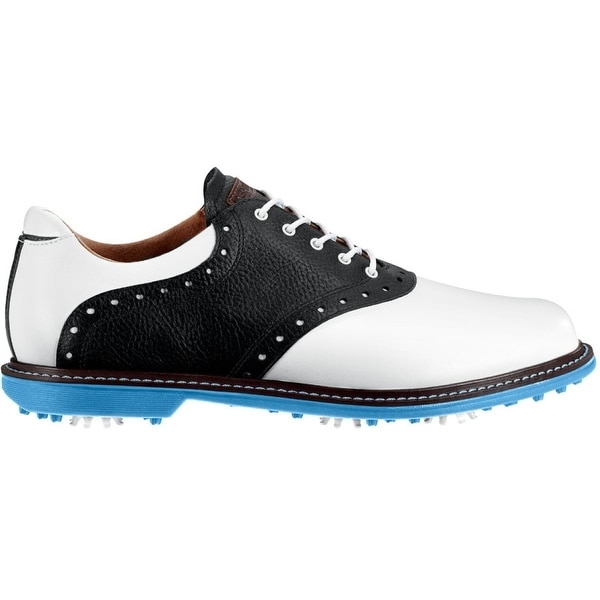 b9d966dc477c8 Shop Ashworth Men s Kingston White Black Azure Golf Shoes G54234 - Free  Shipping Today - Overstock - 19456917