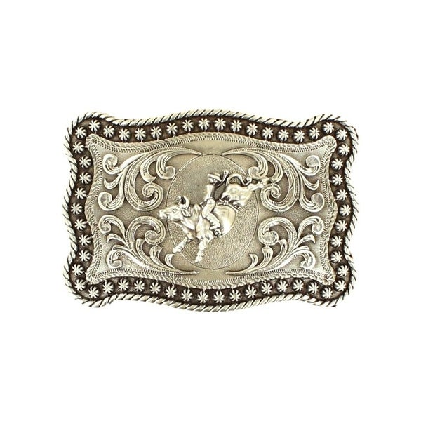 "Nocona Western Belt Buckle Rectangle Bull Rider Stars Silver - 3 7/8"" x 2 3/4"""