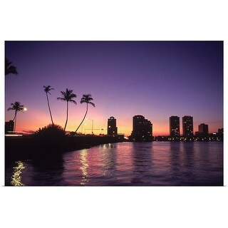 """Skyline and sunset, West Palm Beach, FL"" Poster Print"