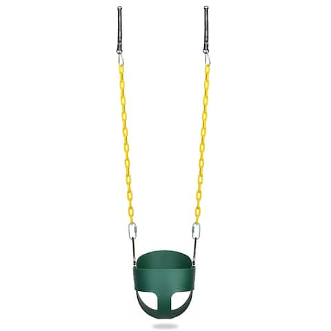 Children's Full Bucket Swing with fully Coated Chain - Green