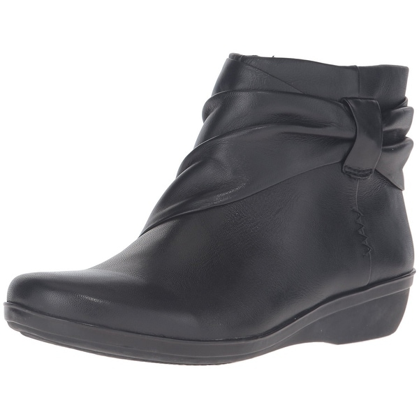 CLARKS Womens Everylay Mandy Leather Round Toe Ankle Fashion Boots