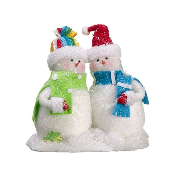 "8.5"" Iridescent Snowy Snowman Couple with Green and Blue Scarves Table Figure - WHITE"
