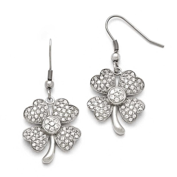 Chisel Stainless Steel Polished 4-Leaf Clover with CZ Shepherd Hook Earrings