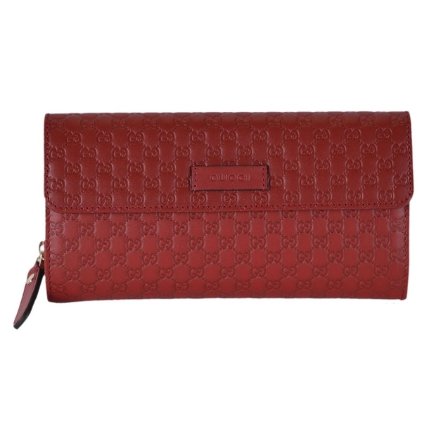 b4cb667951bb Gucci Women's 449364 Red Leather Micro GG Continental Bifold Wallet ...