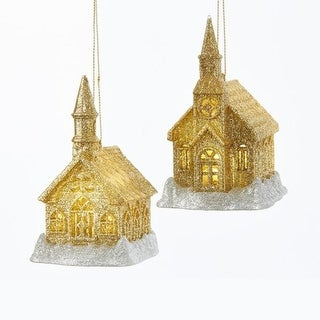 Club Pack of 24 Gold and Silver Colored Glittery Finish Lighted Church Ornaments 4""