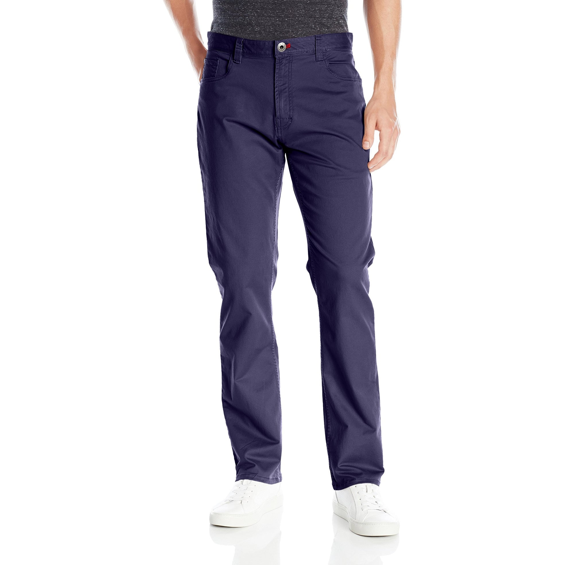 IZOD Mens Weekender Washed Straight-Fit Flat Front Pant