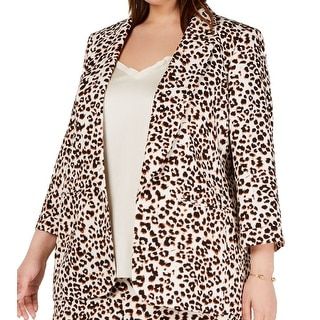 BAR III Women Blazer Jacket Brown Size 2X Plus Leopard-Print Open-Front