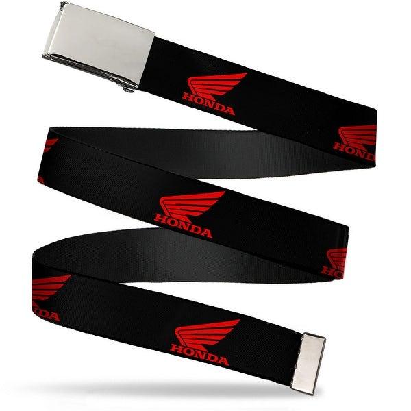 Blank Chrome Bo Buckle Honda Motorcycle Logo Black Red Webbing Web Belt