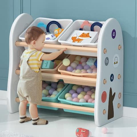 Wooden Kids' Toy Storage Organizer with 6 Plastic Bins,White Color