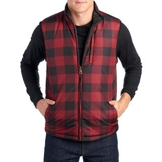 Weatherproof Vintage Men's Reversible Vest Red Plaid Size Extra Large - XL