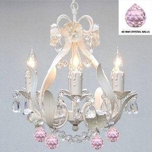 Swag Plug- In White Wrought Iron Crystal Flower Chandelier Lighting With Pink Crystal Balls
