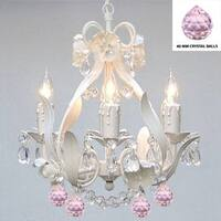 Swag Plug In White Iron & Crystal Chandelier With Pink Crystal Balls
