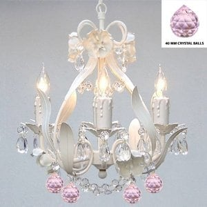 White Wrought Iron Flower Chandelier Lighting With Pink Crystal Balls